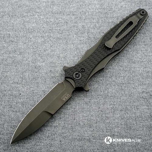 Hinderer Knives Maximus Bayonet Grind Knife - Battle Black DLC - Black Out Hardware - Black G10 Handle