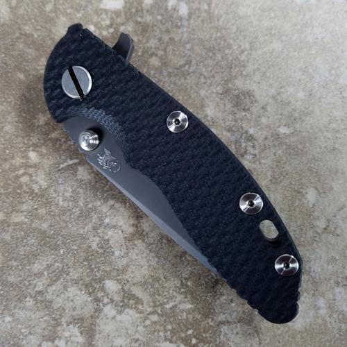Rick Hinderer XM-18 Knife 3 Inch Black DLC Spanto Black G10 Frame Lock Flipper Folder