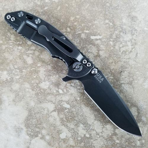 Rick Hinderer XM-18 Knife 3 Inch Battle Black Spanto Black G10 Frame Lock Flipper Folder