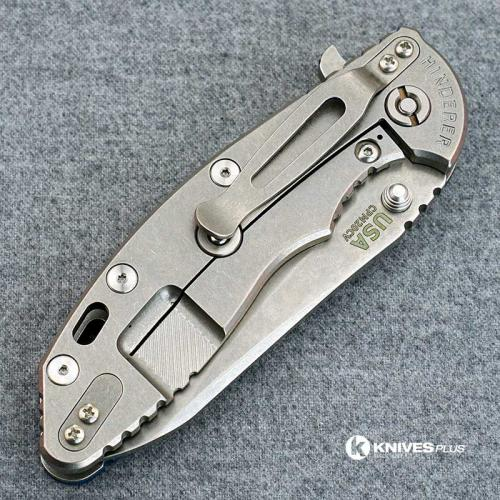 Hinderer Knives XM-18 3.5 Inch Knife - Gen 5 Sheepsfoot - Stonewash - Blue Black G-10 Handle