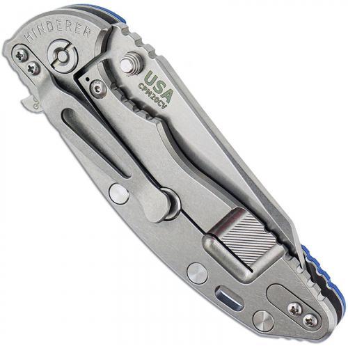 Hinderer Knives FATTY XM-18 3.5 Inch Knife - Gen 6 Wharncliffe - Stonewash - Tri Way Pivot - Blue G-10 Handle