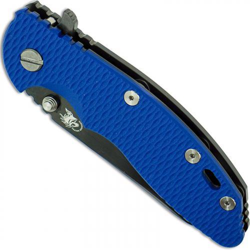 Hinderer Knives XM-18 3.5 Inch Knife - Gen 6 Sheepfoot - Stonewash Black DLC - Tri Way Pivot - Blue G-10 Handle