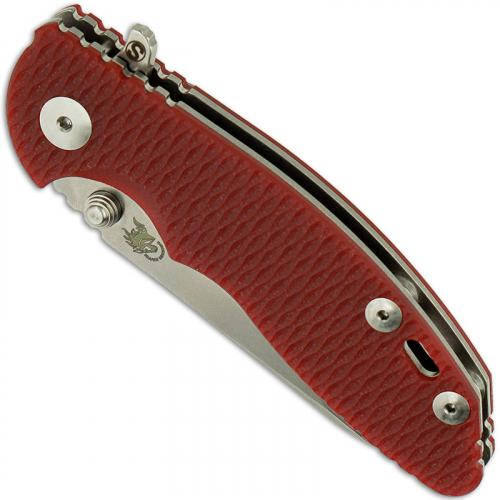 Hinderer Knives SKINNY XM-18 3 Inch Knife - Sheepsfoot - Stonewash - Tri Way Pivot - Red G-10