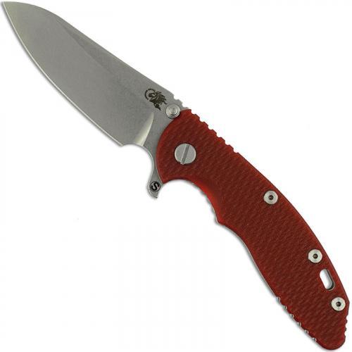 Hinderer Knives SKINNY XM-18 3.5 Inch Knife - Sheepsfoot - Stonewash - Tri Way Pivot - Red G-10