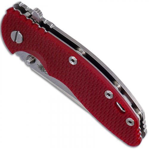 Hinderer Knives Gen 6 XM-18 3.5 Inch Knife - Spanto - Stonewash - Tri Way Pivot - Red G-10