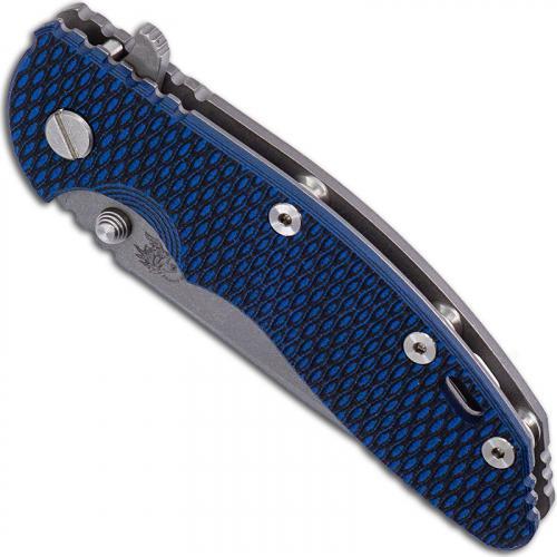 Hinderer Knives Gen 6 XM-18 3.5 Inch Knife - Spear Point - Working Finish - Tri Way Pivot - Blue / Black G-10