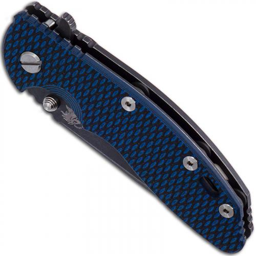 Hinderer Knives Gen 6 XM-18 3.5 Inch Knife - Spear Point - Battle Black DLC - Tri Way Pivot - Blue / Black G-10