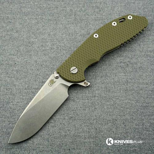 Hinderer Knives XM-24 Skinny Slicer Knife - Stonewash Finish - OD Green G10 Handle