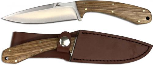 Roper Deadwood Skinner Satin Drop Point Fixed Blade EDC Zebra Wood Handle RP0012ZW