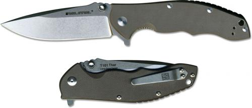 Real Steel 7522 Thor T101 EDC Liner Lock Flipper Knife Dark Earth Brown G10
