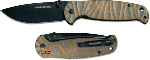 Real Steel 7784 H6 Blue Sheep Special Edition EDC Knife Black Blade Blue and Orange G10