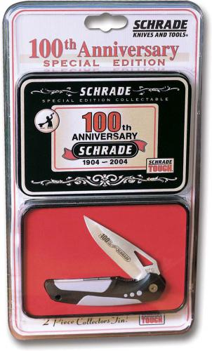 Schrade Badger Knife ASX4CPT - Limited 100 Year Anniversary Edition with Tin - OLD NEW STOCK