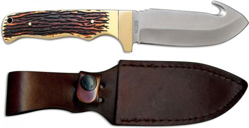Uncle Henry 185UH Gut Hook Knife 4.25 Inch Fixed Blade Full Tang Staglon Handle