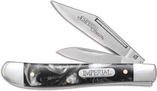 Schrade Imperial Dog Leg Jack Knife IMP42 Pocket Knife Black and White Swirl POM