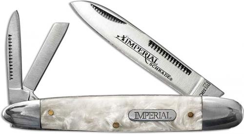 Schrade Imperial IMP9 Cigar Whittler Pocket Knife White Cracked Ice POM