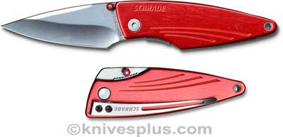 Schrade Knives: Schrade Silhouette Knife, Red Handle SC-SQ423