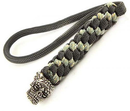 Schmuckatelli Lanyard - Aquilo Sugar Skull Pewter Bead - Pewter Finish - Black and Digi Camo Cord - 4.A-ABLBDCP