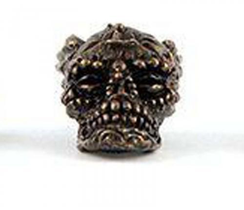 Schmuckatelli Aquilo Sugar Skull Solid Bronze Premium Bead - Oil Rubbed Finish - AORBO