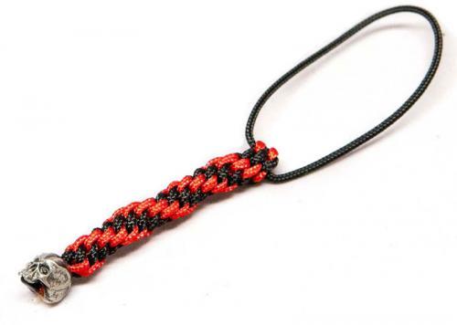 Schmuckatelli Mini Lanyard - Cyber Pewter Bead - Pewter Finish - Black and Red Cord - 4.B-CYPMLBR