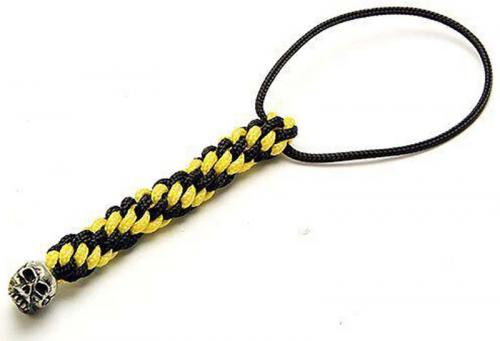 Schmuckatelli Mini Lanyard - Joe Pewter Bead - Pewter Finish - Black and Yellow Cord - 4.B-JPMLBY