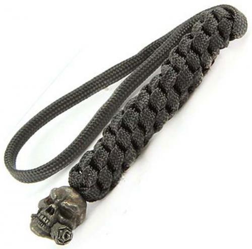 Schmuckatelli Lanyard - Rose Skull Pewter Bead - Black Oxide Finish - Black Cord - 4.A-RBLBB