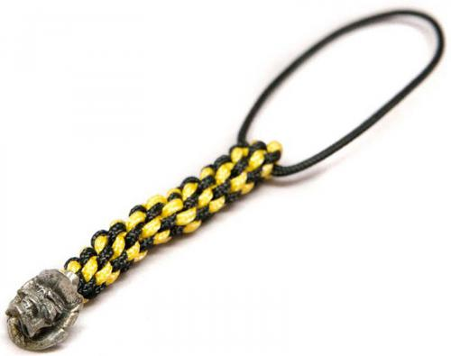 Schmuckatelli Mini Lanyard - Vinnie Garoon Pewter Bead - Pewter Finish - Black and Yellow Cord - 4.B-VGMLBY
