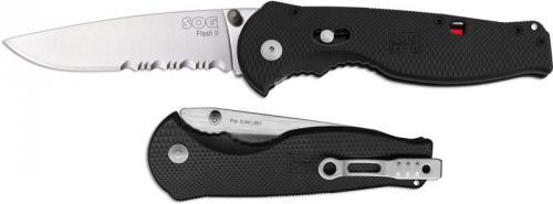 SOG Flash II Knife, Part Serrated, SG-98S