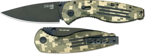 SOG Knives: SOG Aegis Knife, Digital Camo Black Drop Point, SG-AE06