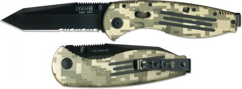 SOG Knives: SOG Aegis Knife, Camo Part Serrated Black Tanto, SG-AE07