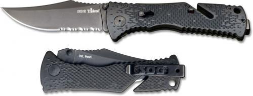 SOG Knives: SOG Black Trident Folder Knife, SG-TF1