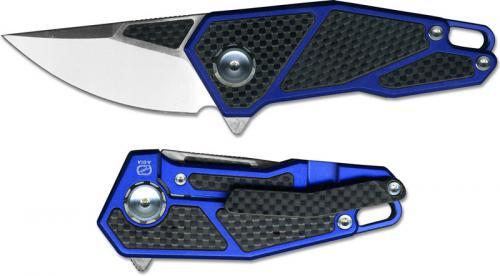 Stedemon A01ABLU Gent's EDC Flipper Folding Knife Blue Aluminum and Carbon Fiber