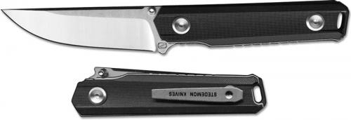 Stedemon ZKC BP02BLC EDC Knife Satin Blade Black Handle Liner Lock Folder