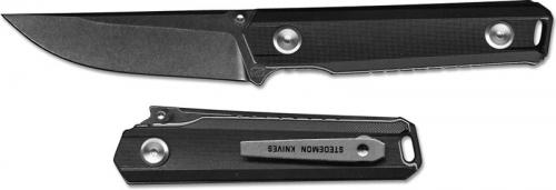Stedemon ZKC BP02BLCS EDC Knife Smoky Wash Blade Black Handle Liner Lock Folder
