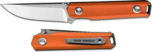 Stedemon ZKC BP02ORG EDC Knife Satin Blade Orange Handle Liner Lock Folder