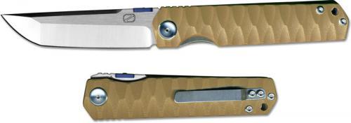 Stedemon ZKC C03D02 Shy IV 2017 EDC Folding Knife Satin Tanto Desert G10