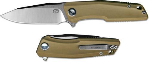 Stedemon ZKC C02D02 EDC Flipper Folding Knife Satin Clip Point Desert G10