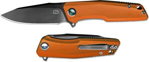 Stedemon ZKC C02D08 EDC Flipper Folding Knife Black Stonewash Clip Point Orange G10