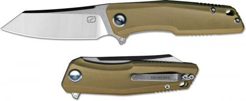 Stedemon ZKC C02T02 EDC Flipper Folding Knife Satin Reverse Tanto Desert G10