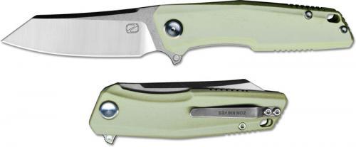 Stedemon ZKC C02T05 EDC Flipper Folding Knife Satin Reverse Tanto Jade G10