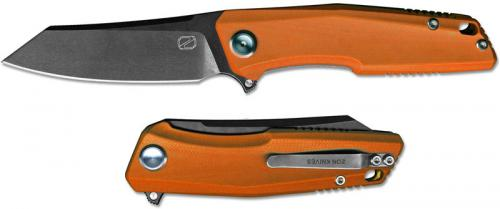 Stedemon ZKC C02T08 EDC Flipper Folding Knife Black Stonewash Reverse Tanto Orange G10