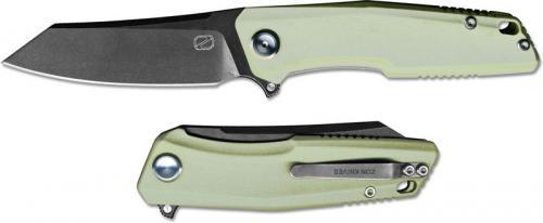 Stedemon ZKC C02T10 EDC Flipper Folding Knife Black Stonewash Reverse Tanto Jade G10