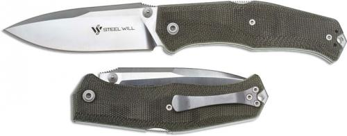 Steel Will Gekko Mini 1550, Green Micarta, SMG-1550
