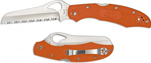 Spyderco Byrd BY17SOR2 Cara Cara 2 Rescue Knife Serrated Sheepfoot Orange FRN Handle