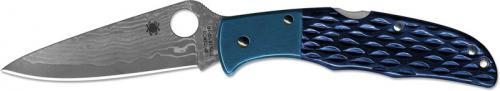 Spyderco Endura C10JBBP - 2012 Sprint Run - VG10 Damascus - Jigged Blue Bone and Blue Ti - Discontinued Item - Serial # - BNIB - Japan Made