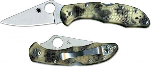 Spyderco Delica 4 Knife C11ZFPGITD - Flat Ground VG10 - Glow in the Dark Zome FRN