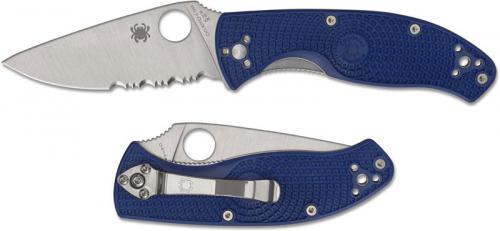 Spyderco Tenacious Lightweight Knife - C122PSBL - Part Serrated Satin S35VN Drop Point - Blue FRN - Liner Lock