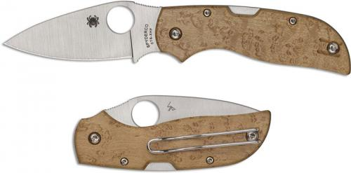 Spyderco Chaparral Knife - C152WDP - CTS XHP Leaf Blade - Birdseye Maple - Back Lock