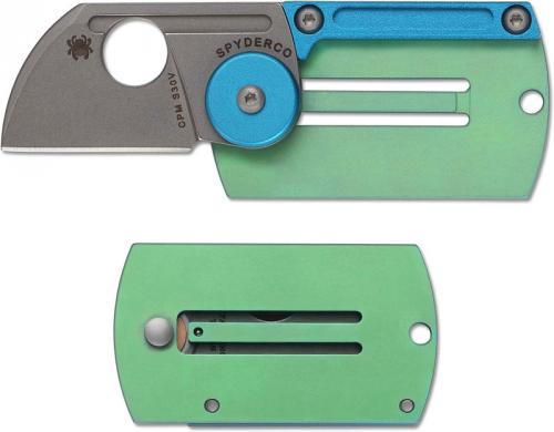 Spyderco Dog Tag Folder, Green and Blue, SP-C188ALTIP