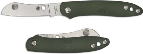Spyderco Roadie Knife - C189PGR - Non Locking Sheepfoot - Olive Green FRN - Made in Italy