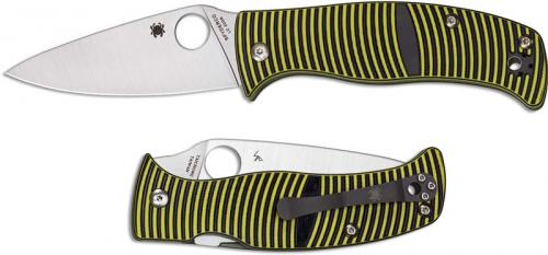 Spyderco C217GP Caribbean Rust Proof Leaf Blade Yellow and Black G10 Compression Lock Folder